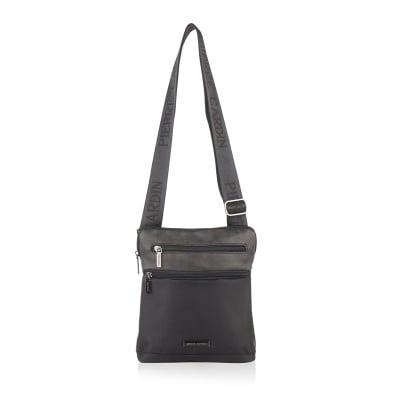 Мъжка чанта еко кожа и плат, черно и черно PIERRE CARDIN