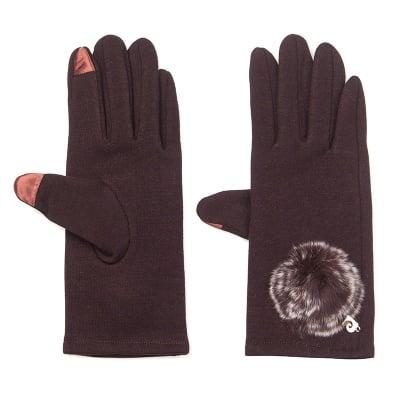 Тъмно кафяви ръкавици с пухче - PIERRE CARDIN