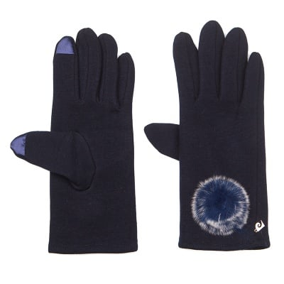 Тъмно сини ръкавици с пухче - PIERRE CARDIN