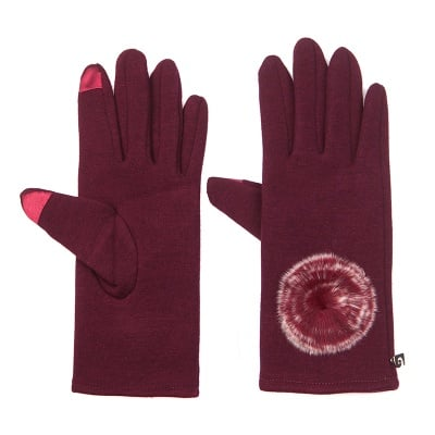 Бордо ръкавици с пухче - PIERRE CARDIN
