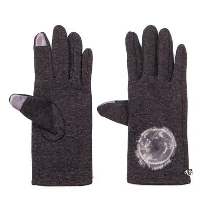 Тъмно сиви ръкавици с пухче - PIERRE CARDIN