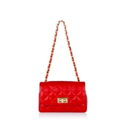 Дамска чанта червена, естествена кожа PIERRE CARDIN