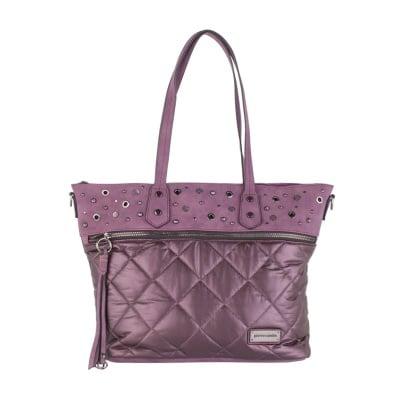 Дамска лилава чанта с капси Pierre Cardin