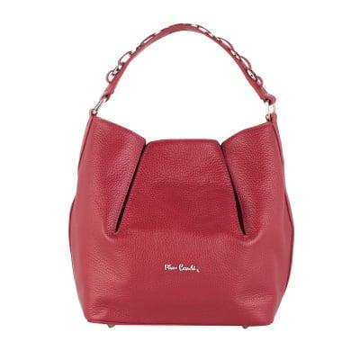 Дамска чанта бордо с верижка Pierre Cardin