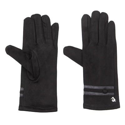 Черни ръкавици велур с 1 копче - PIERRE CARDIN