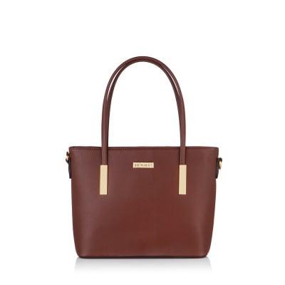 Дамска тъмно кафява чанта от еко кожа  PIERRE CARDIN - малка