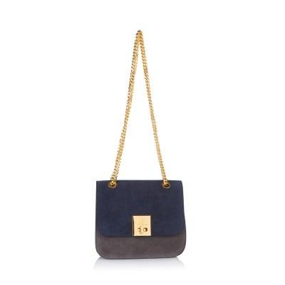 Дамска чанта PIERRE CARDIN светло синя - велур