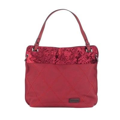 Дамска чанта цвят вишна от еко кожа Pierre Cardin