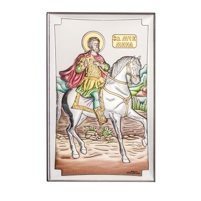 Икона св.Мина цветна 9/15 см.