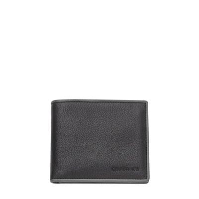 Мъжки черен портфейл CERRUTI 1881 - с кафява лента