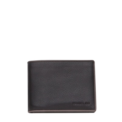 Мъжки портфейл CERRUTI 1881 - черен, с кафяв кант
