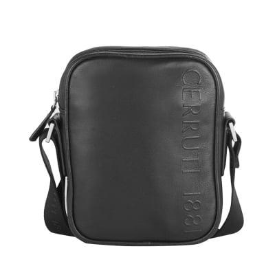 Мъжка черна чанта с лого - CERRUTI