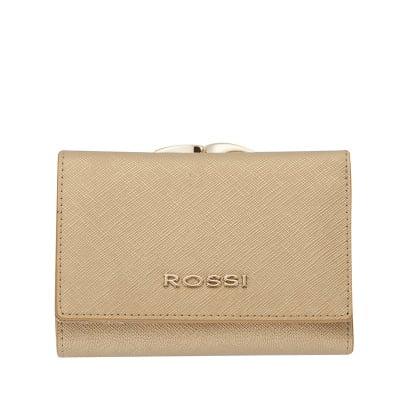Малко дамско портмоне цвят Сафиано Златно ROSSI