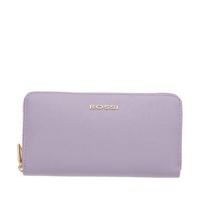 Дамско портмоне с цип цвят Сафиано Лавандула ROSSI