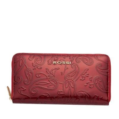 Дамско портмоне цвят Червено Гланц с листа ROSSI