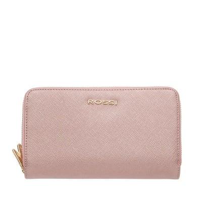 Дамско портмоне с двоен цип цвят   Сафиано Блестящо Розово ROSSI