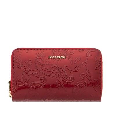 Дамско портмоне с двоен цип цвят Червено Гланц с листа ROSSI