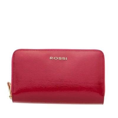 Дамско портмоне с двоен цип цвят Малина Гланц ROSSI