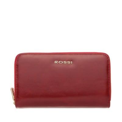Дамско портмоне с двоен цип цвят Маслено Червено ROSSI