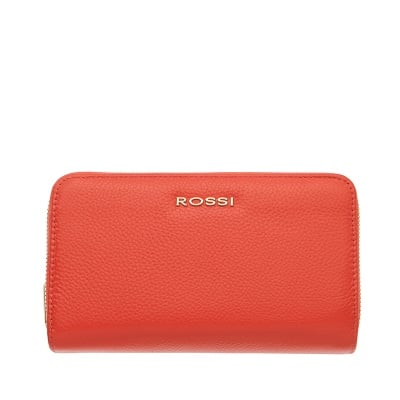 Дамско портмоне с двоен цип цвят Корал Шагрен ROSSI