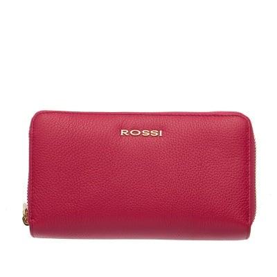 Дамско портмоне с двоен цип цвят  Малина Шагрен ROSSI
