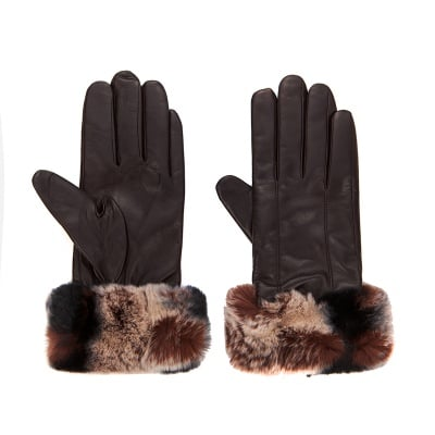 Дамски елегантни ръкавици с тъмно кафяво периферия ROSSI