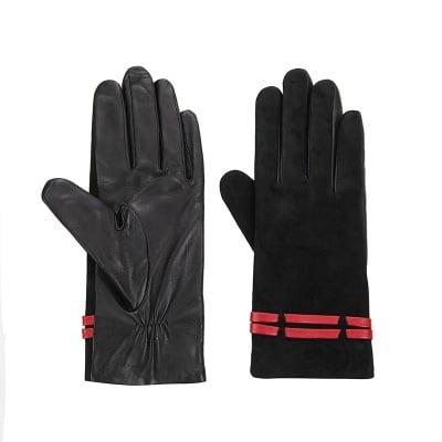 Дамски  елегантни ръкавици черен велур ROSSI