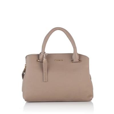 Класическа дамска чанта в бежаво - ROSSI