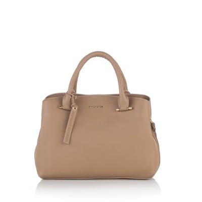Класическа дамска чанта в тъмно бежаво - ROSSI