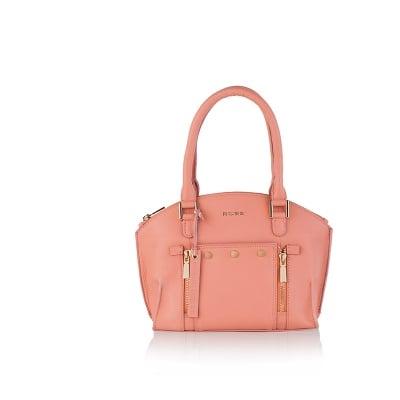 Дамска чанта с украсителни ципове в розово - ROSSI