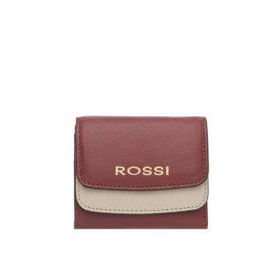 Малко дамско портмоне във винено червено и бежoво - ROSSI