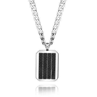 Верижка с медальон SILVER FLAME - стомана и карбон