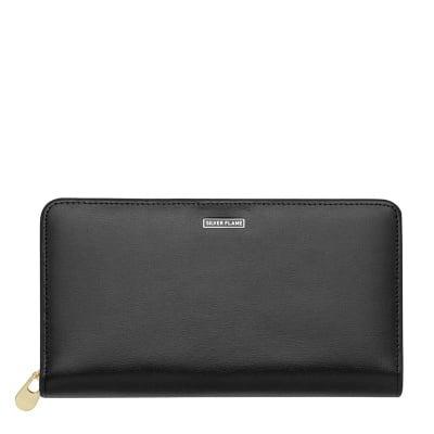 Дамско черно портмоне с тъмно кафявo SILVER FLAME