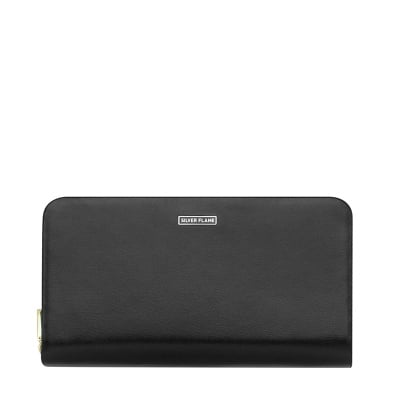Дамско черно портмоне със сиво - SILVER FLAME