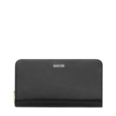 Дамско черно портмоне с кафяво - SILVER FLAME