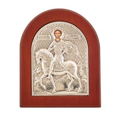 Икона св.Димитър 7.5 - 9.2см., сребро