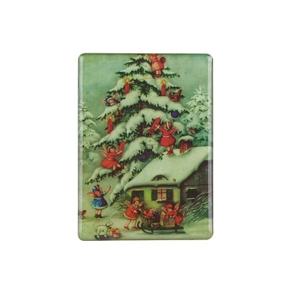 Коледен магнит къща с ангелчета