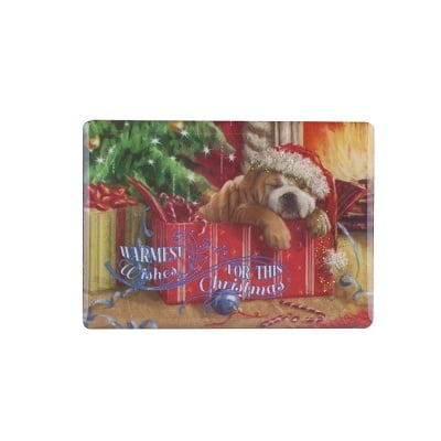 Коледен магнит Кученце с подарък