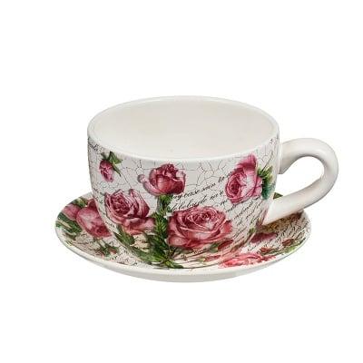 Саксия чаша рози/писмо средна