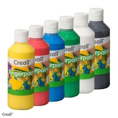 Комплект бои за рисуване с ръце на водна основа CREALL, 6 цвята - 250 ml