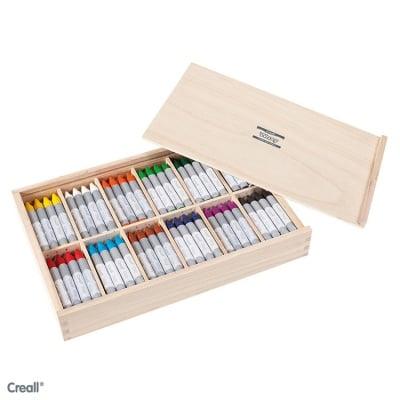 Дисплей цветни восъчни пастели CREALL Waxy, 12 цвята, 144 бр.