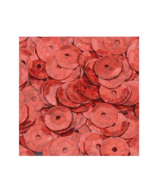 Кръгли пайети, релефни, ф 6 mm, ~ 500 бр., холограмно червено