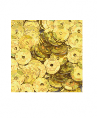 Кръгли пайети, релефни, ф 6 mm, ~ 500 бр., златисти