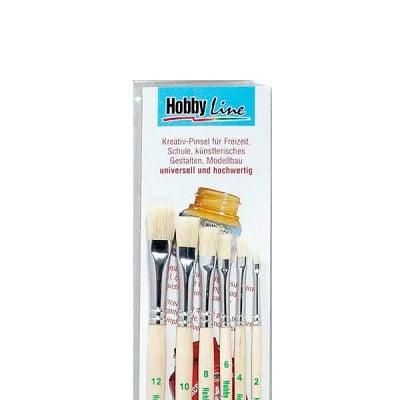 Комплект четки HOBBY LINE Pinsel Set Schule+Freizeit, плоски, 6 броя
