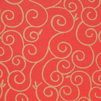 Цветна хартия, 130 g/m2, 50 x 69 cm, 1л, червена със златни арабески