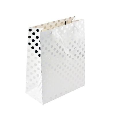 Подаръчна чанта бяла на сребърни точки, 26 x 32 x 12 cm
