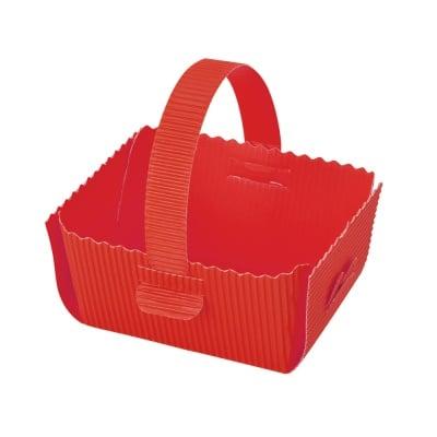 Кошница за подарък, велпапе, 12 х 14 cm, червена