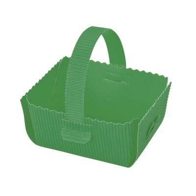Кошница за подарък, велпапе, 12 х 14 cm, зелена