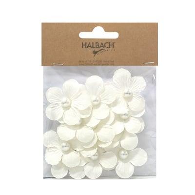 Декоративни цветчета, 40 mm, 12 бр., бели