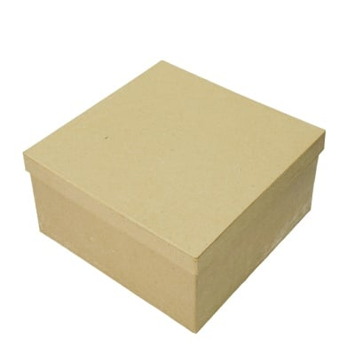 Кутия папиемаше, Kвадрат, 5 x 5 x 2.5cm, кафява